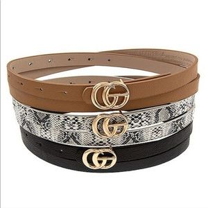 Faux fashion leather belts.  Only snake skin left!